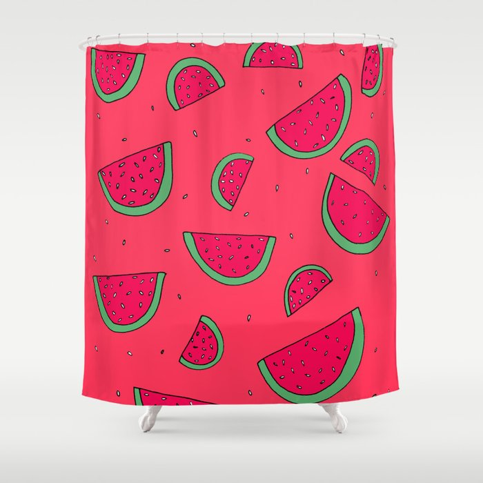 The Joy of Eating Watermelon in the Summer Shower Curtain