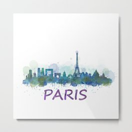 Paris City Skyline HQ Metal Print