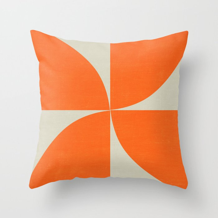 mod petals - orange Throw Pillow
