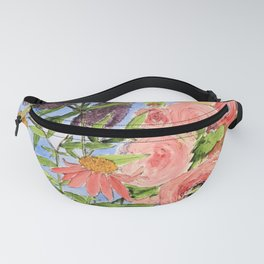 Cottage Garden Butterfly Bush Watercolor Illustration Fanny Pack