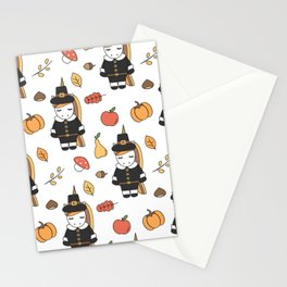 cartoon thanksgiving pattern with pilgrim unicorns, pumpkins, apples, pears, leaves and acorns Stationery Cards