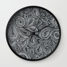 Paisley black and white pattern Wall Clock