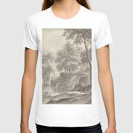 Daniël Dupre - Landschap met rivier, wandelaars en vee T-shirt