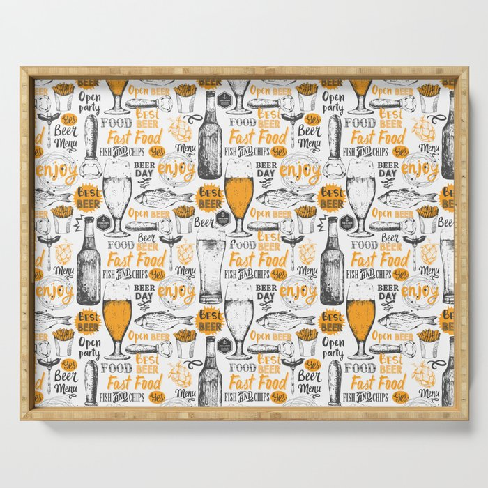 Beer Pattern | Oktoberfest Hops Malt Brewery Serving Tray