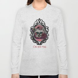 Cat and Roses Long Sleeve T-shirt
