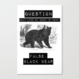 false. black bear Canvas Print