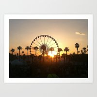 coachella Art Prints featuring Coachella Sunset by Lauren Haney