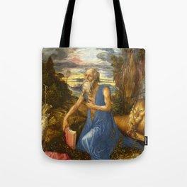 Saint Jerome in the Wilderness by Albrecht Dürer Tote Bag