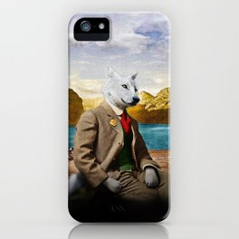 Mr. Wolf Relaxing at the Lake iPhone Case