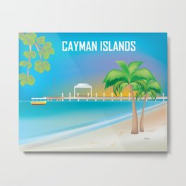 Cayman Islands - Skyline Illustration by Loose Petals Metal Print