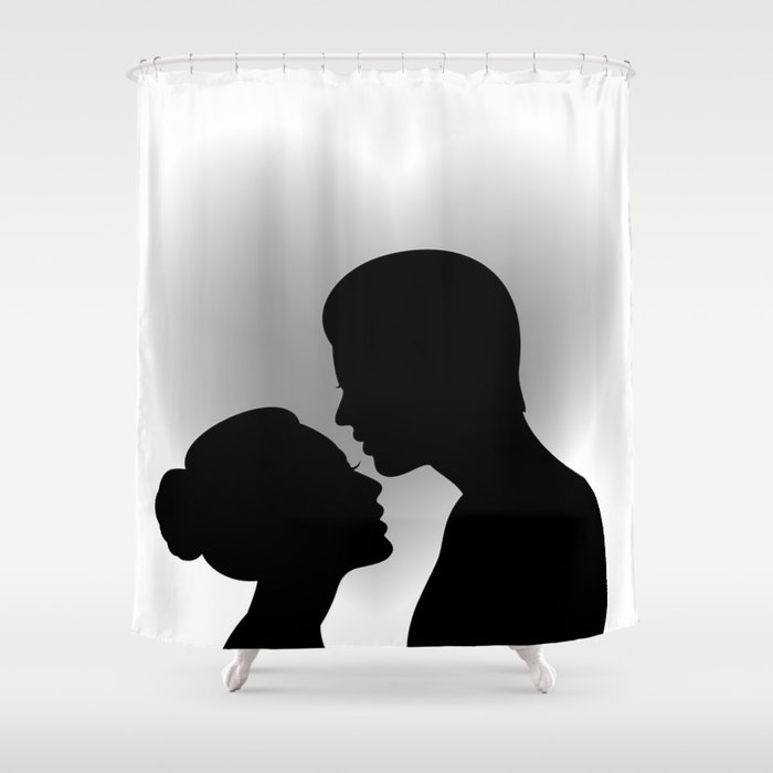 Couple with heart shaped background Shower Curtain