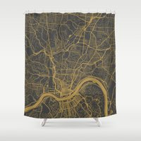 cincinnati Shower Curtains featuring Cincinnati map by Map Map Maps