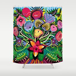 Tropical Flower Arrangement Shower Curtain