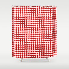 Exceptional Friendly Houndstooth Pattern,red Shower Curtain