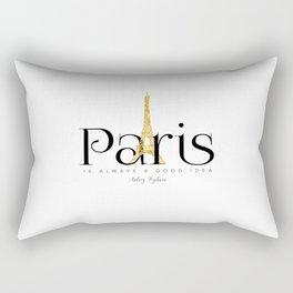 Paris is always a good idea - Audrey Hepburn - gold eiffel Rectangular Pillow
