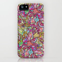 Hand drawn abstract background ornament pattern iPhone Case
