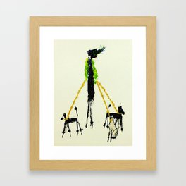 Green Dog Lady Framed Art Print