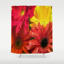 Sunny Daisy Flower Art Shower Curtain
