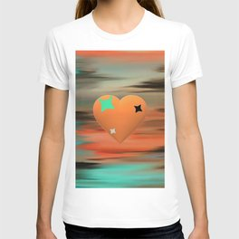Abstract intense, orange heart T-shirt