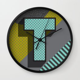 Modern Alphabet Letter T ABC Wall Clock