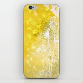 Watercolor Dandelions:  Artistic bold yellow on white iPhone Skin