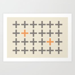 Plusses Gray and Orange Art Print