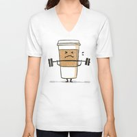 strong V-neck T-shirts featuring Strong Coffee by Picomodi