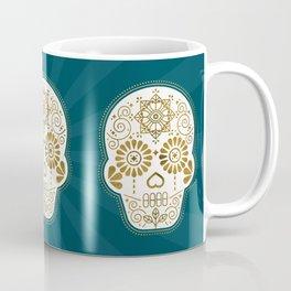 Día de Muertos Calavera • Mexican Sugar Skull – Teal & Bronze Palette Coffee Mug