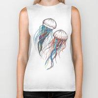jellyfish Biker Tanks featuring JellyFish by Ana Grigolia