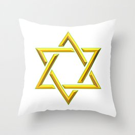 Golden 3-D Look Jewish Star of David Throw Pillow