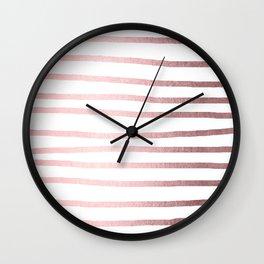 Simply Drawn Stripes Rose Quartz Elegance Wall Clock