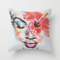 hibiscus Throw Pillows featuring Hibiscus by Maria Lozano - Art