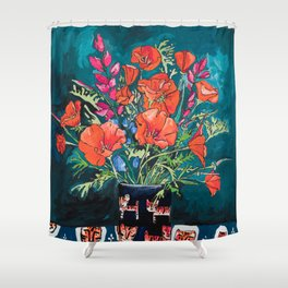California Poppy and Wildflower Bouquet on Emerald with Tigers Still Life Painting Shower Curtain