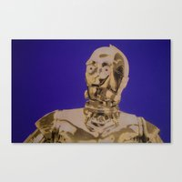 c3po Canvas Prints featuring C3PO by cocksoupart