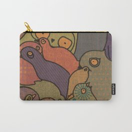 A bunch of birds in blue mosaic  Carry-All Pouch