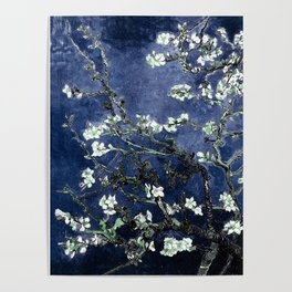 Vincent Van Gogh Almond Blossoms Dark Blue Poster