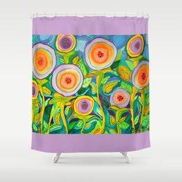 Peach Peonies in the Garden Shower Curtain