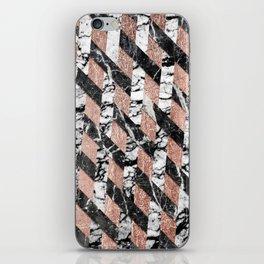 Modern Black and White Marble Rose Gold Crisscross iPhone Skin
