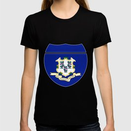 Connecticut Flag In An Interstate Sign T-shirt