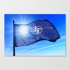NATO flag waving on the wind Canvas Print
