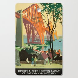Scottish Railway Travel Poster, The Forth Bridge, East Coast Route Cutting Board