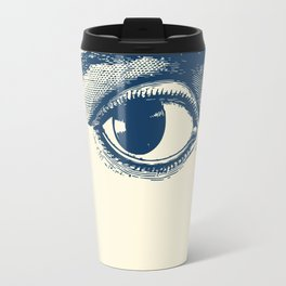 I see you. Navy Blue on Cream Travel Mug