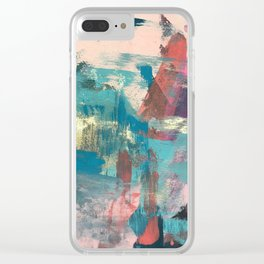 Sugar Rush [2]: a colorful, abstract mixed media piece in pinks, blues, and gold Clear iPhone Case