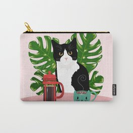 Tuxie Cat and Coffee Carry-All Pouch