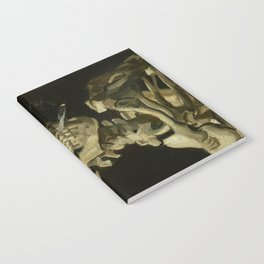 Skull of a Skeleton with Burning Cigarette Painting by Vincent van Gogh Notebook