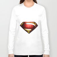 man of steel Long Sleeve T-shirts featuring Man of Steel by bimorecreative
