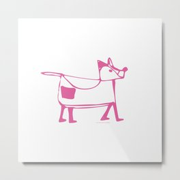 Funny dog pink-white pattern Metal Print