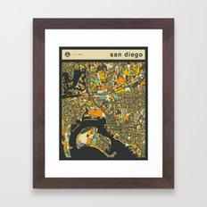 SAN DIEGO MAP Framed Art Print