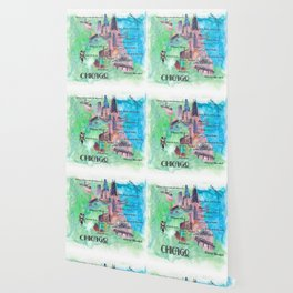 Chicago Favorite Map with touristic Top Ten Highlights in Colorful Retro Style Wallpaper