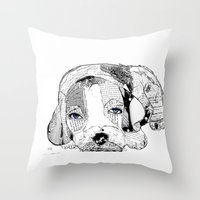 beagle Throw Pillows featuring Beagle by bri.buckley